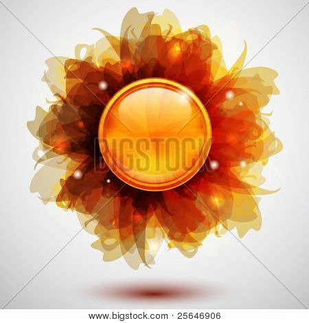 Abstract background with transparent flowers and button