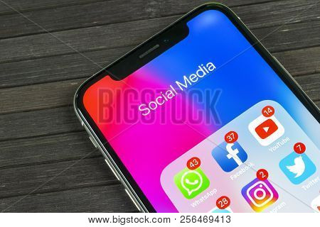 Sankt-petersburg, Russia, September 2, 2018: Apple Iphone X With Icons Of Social Media Facebook, Ins