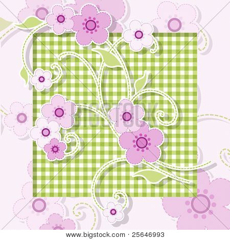 Pink and green background with flowers