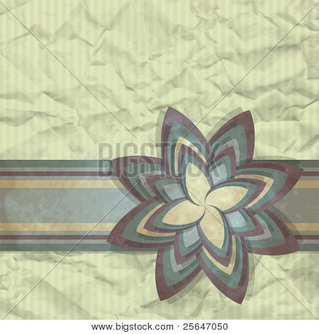 Vintage template design for greeting card with paper flower