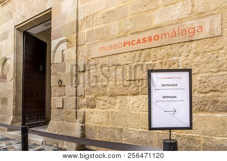 Malaga, Spain - September 2nd, 2018: Picasso Museum Entrance, Located In An Old Classic Palace In Th