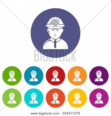 Miner Icons Color Set Vector For Any Web Design On White Background