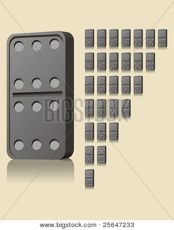 Vector illustration of straight black domino blocks with shadow. Numbers from zero to six.