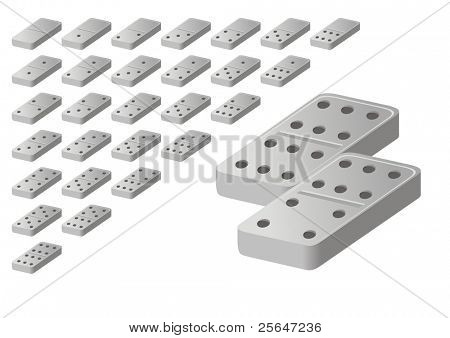 Vector illustration of white domino game blocks. Numbers from zero to six.