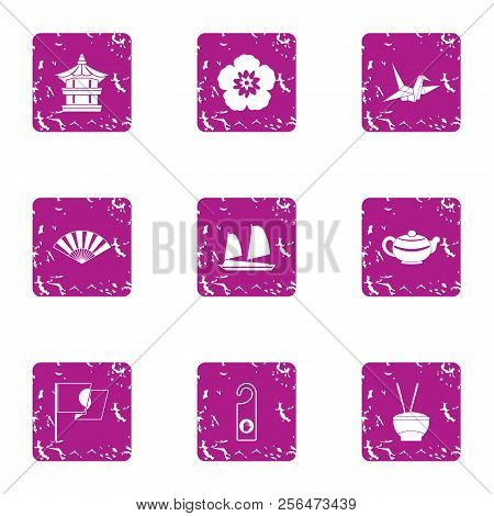 Asian aesthetic icons set. Grunge set of 9 asian aesthetic vector icons for web isolated on white background poster