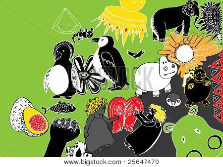 sweet doodle of cute hippos and penguins