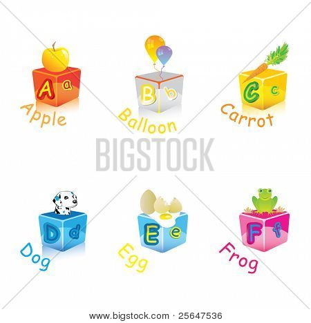 alphabet with animals and objects