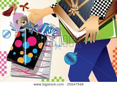 Christmas shopping fever. For more cool vectors see my gallery.