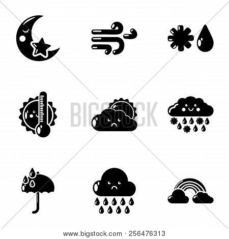 Damp Weather Icons Set. Simple Set Of 9 Damp Weather Vector Icons For Web Isolated On White Backgrou