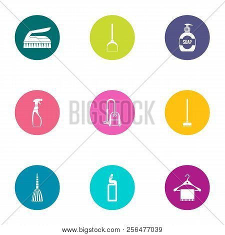 Cleaning Staff Icons Set. Flat Set Of 9 Cleaning Staff Vector Icons For Web Isolated On White Backgr
