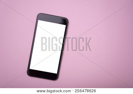 Mobile Phone And Blank Screen For Mockup Template Advertising And Branding Technology On Pink Backgr