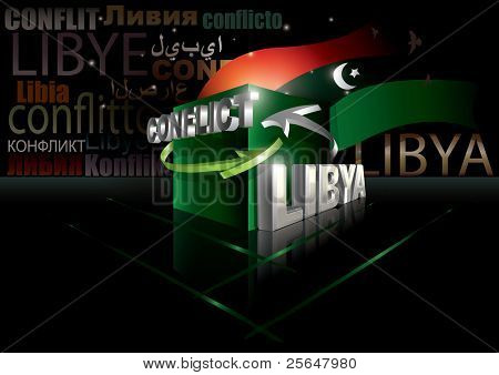 Libyan conflict Vector illustration with different languages included
