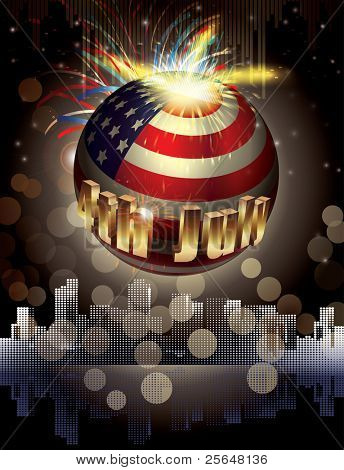 Happy 4th July. vector background. explosion of colors and shapes