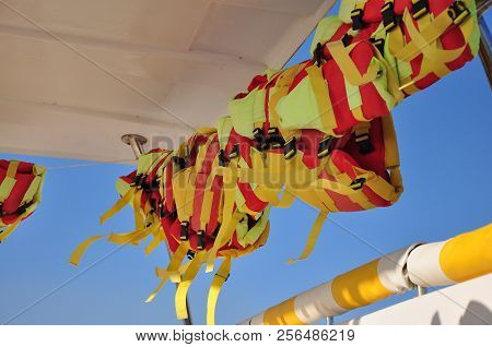 Life Vests On A Boat, Life Jackets In A Boat
