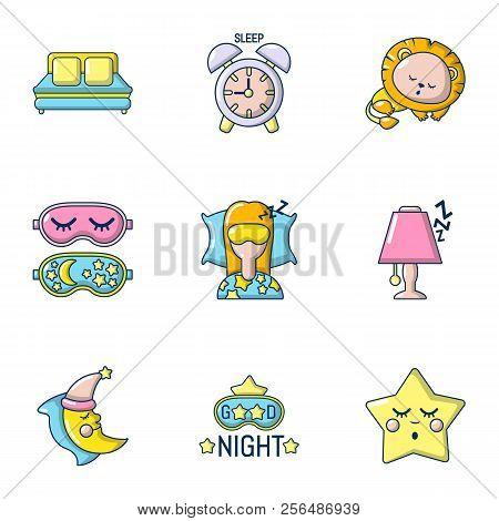 Slumber Icons Set. Cartoon Set Of 9 Slumber Vector Icons For Web Isolated On White Background
