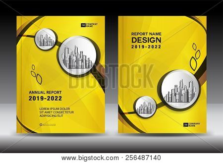 Yellow Cover Template With City Landscape, Annual Report Cover Design, Business Brochure Flyer Templ