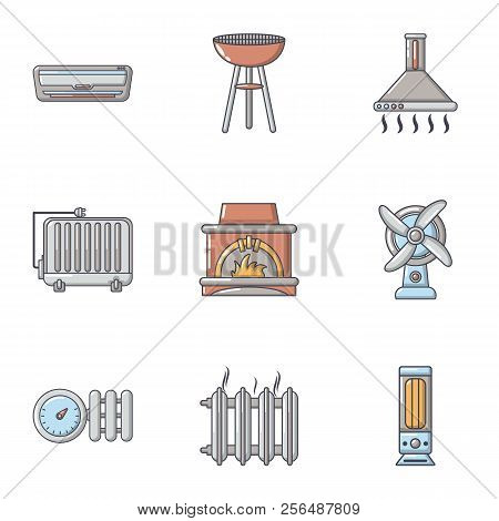 Warmth Icons Set. Cartoon Set Of 9 Warmth Vector Icons For Web Isolated On White Background