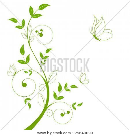 Beautiful abstract floral background with butterflies.