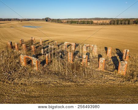 Drone Photo Of The Ruins Of An Old House In Countryside Fields In Small Countryside Village On A Sun