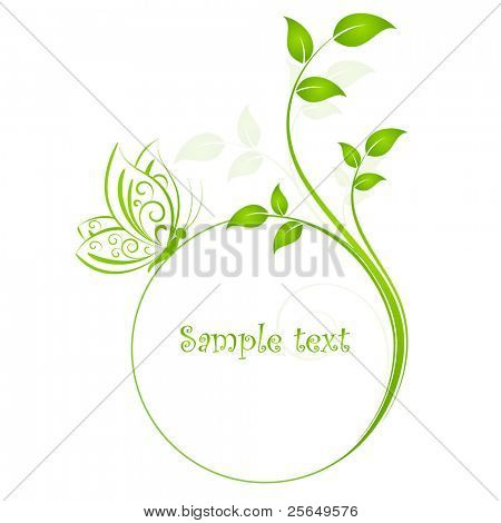 Floral background with butterfly. Element for design.