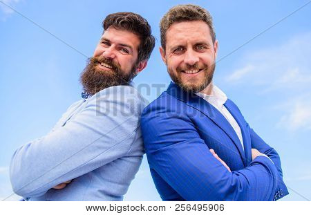 Trust Us We Are Professionals. Men Formal Suits Stand Back To Back Blue Sky Background. Confident En