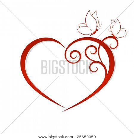 Abstract vector heart with butterflies. Element for design.