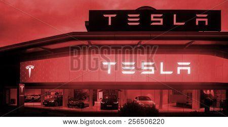 London, United Kingdom Mar 8, 2017: Modern Tesla Motors Showroom With Multiple Luxury Tesla Cars Ins