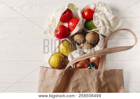 Zero Waste Food Shopping. Eco Natural Bags With Fruits And Vegetables In Tote, Eco Friendly, Flat La