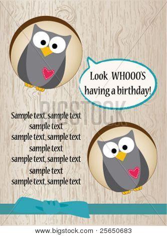 Funny owl birthday card