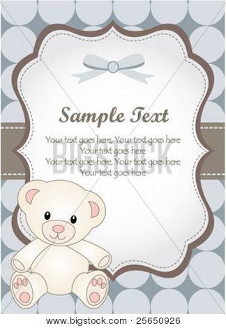 baby boy greeting card with teddy bear
