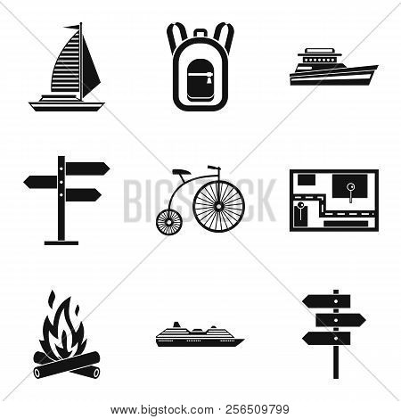 Departure Icons Set. Simple Set Of 9 Departure Icons For Web Isolated On White Background