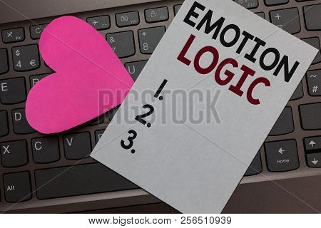 Handwriting Text Emotion Logic. Concept Meaning Heart Or Brain Soul Or Intelligence Confusion Equal
