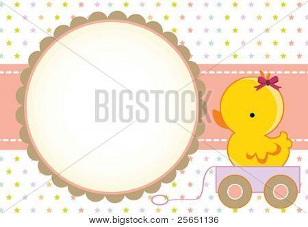 Cute baby girl arrival card