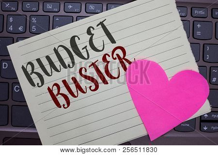 Conceptual Hand Writing Showing Budget Buster. Business Photo Showcasing Carefree Spending Bargains