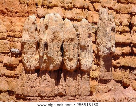 Natural Face Like Figures Shaped And Worn In The Red Rock At Paria View, Bryce Canyon National Park,