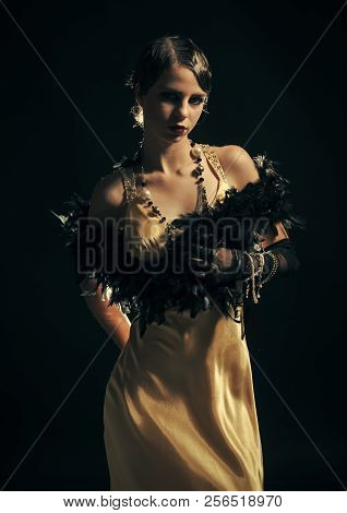 Look And Retro Style, Pinup. Pin Up Pretty Fashion Model Pose On Black Background. Girl In Fashionab