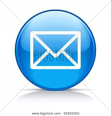 E-Mail Kreissymbol blaue Taste, isolated on white