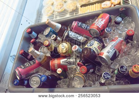 Various Selection Imported And Domestic Beer Bottle Can In Ice Chest