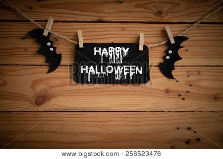 Halloween Crafts, Bat, Spider And Cobweb On Wooden Table Background With Happy Halloween Text. Hallo