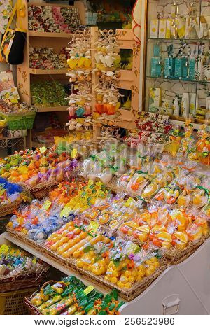 Sorrento, Italy - 2015-06-26 Display Of Bright Colorful Storefront Or Giftshop Selling Citrus Soaps,