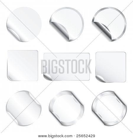 Set vector white stickers