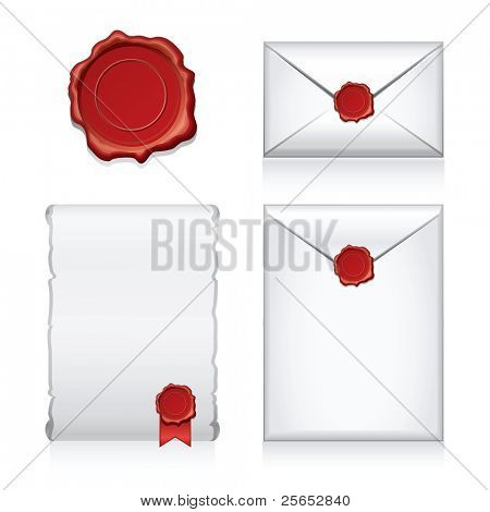 Set vector e-mail, envelop icons with wax press.