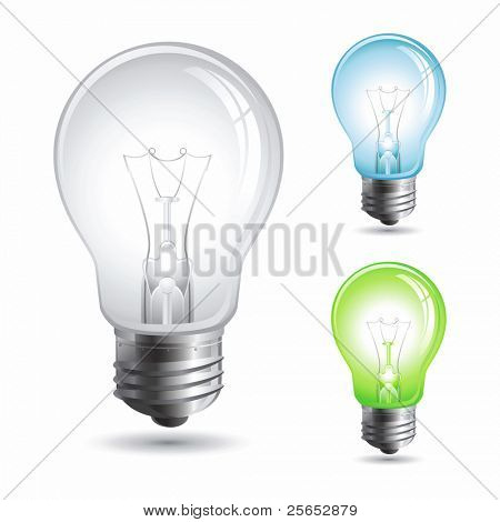 Set realistic vector illustration of a light bulb isolated on white