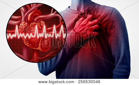 Human Heart Attack Pain As An Anatomy Medical Disease Concept With A Person Suffering From A Cardiac