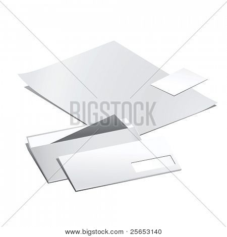 Vector set of  white paper stationery elements.