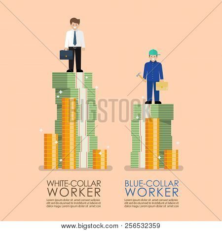 Comparison Income Between White And Blue Collar Workers Infographic. Busiess Concept