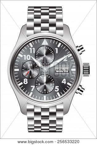 Realistic Watch Clock Chronograph Stainless Steel On White Background Vector Illustration.