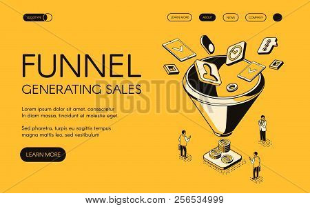 Funnel Generating Sales Vector Illustration For Digital Marketing And E-business Technology. Trade A