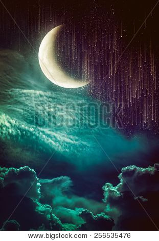 Photo Manipulation. Beautiful colorful skyscape with many stars and meteor shower. Landscape of night sky with crescent and cloudy. Serenity nature background. The moon taken with my camera. poster