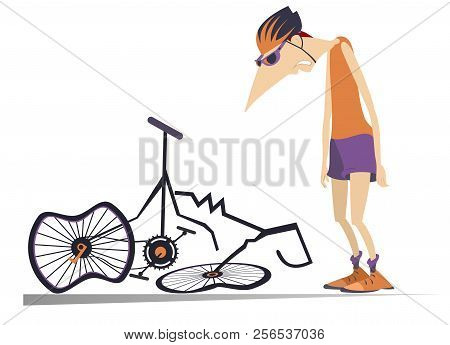 Cyclist And A Broken Bike Isolated Illustration. Sad Cyclist Standing Near A Broken Bike With Downca